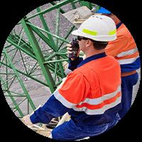 construction worker using radio
