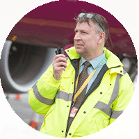 Using radio by plane