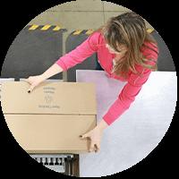 woman packaging materials